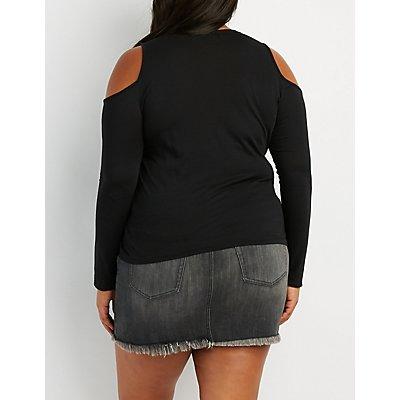 Plus Size Lace-Up Front Cold Shoulder Top