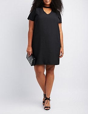 Plus Size Choker Neck Shift Dress