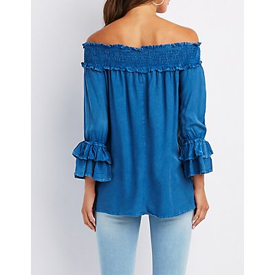 Chambray Ruffle-Trim Off-The-Shoulder Top