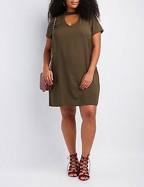 Plus Size Choker Neck Shift Dress
