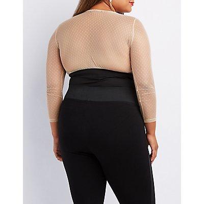 Plus Size Swiss Dot Corset-Detail Bodysuit
