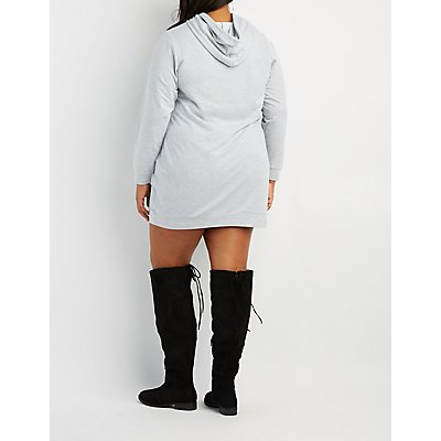 Plus Size Feminista Hooded Sweatshirt Dress