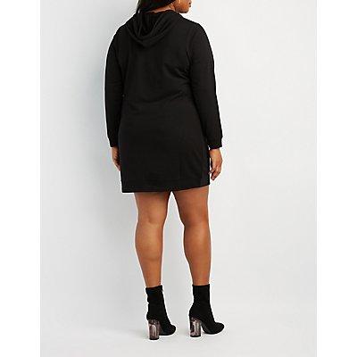 Plus Size Feminista Hooded Sweatshirt Dress