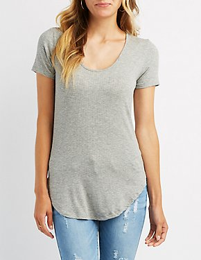 Ribbed High-Low Tunic Tee