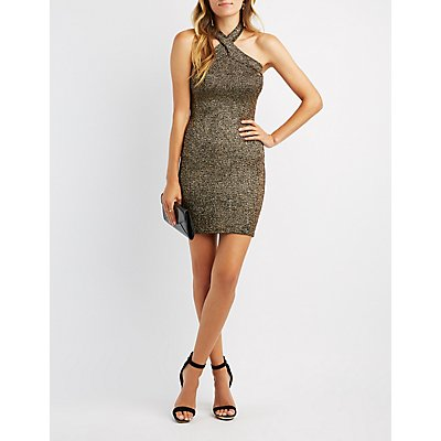 Glitter Halter Bodycon Dress