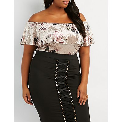 Plus Size Floral Velvet Ruffle Off-The-Shoulder Bodysuit