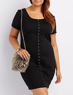 Plus Size O-Ring Detail Bodycon Dress