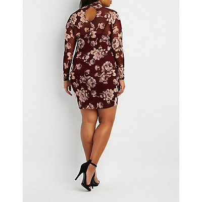 Plus Size Floral Mesh Mock Neck Bodycon Dress