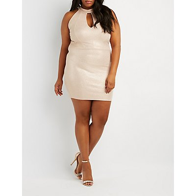 Plus Size Mock Neck Open-Back Dress
