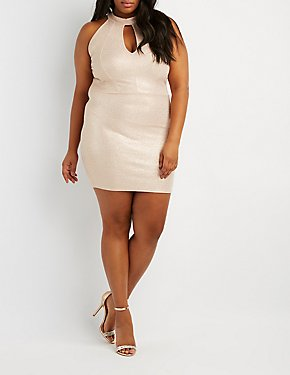 Plus Size Mock Neck Open-Back Dress