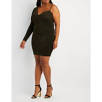 Plus Size Shimmer Knit Asymmetrical Shoulder Bodycon Dress