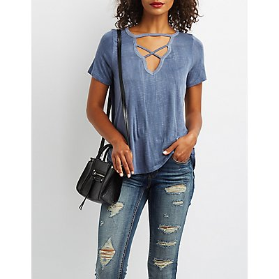 Strappy Keyhole Tee