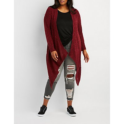 Plus Size Shaker Stitch Open-Front Cardigan