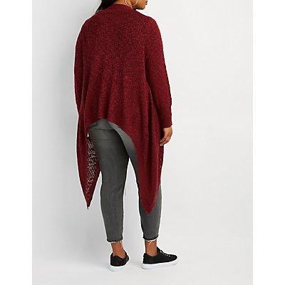 Plus Size Shaker Stitch Open-Front Cardigan