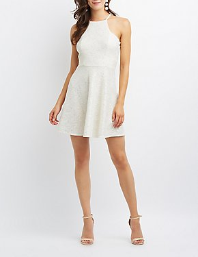 Bib Neck Open-Back Skater Dress