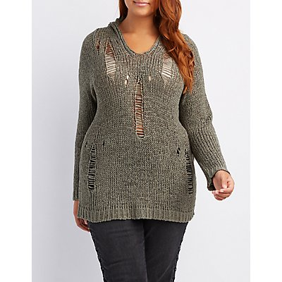 Plus Size Distressed Pullover Sweater Charlotte Russe