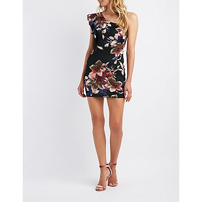 Floral Ruffle-Trim One-Shoulder Bodycon Dress