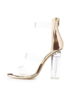 Wide-Width Clear & Metallic Three-Piece Sandals