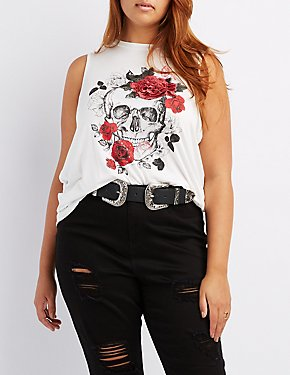 Plus Size Rose Embroidered Skull Tank Top