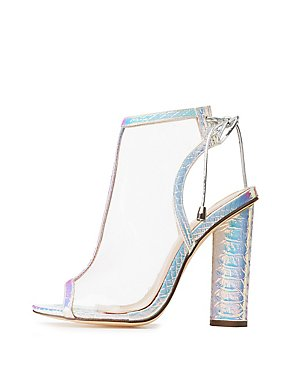 Holographic Faux Snakeskin Peep Toe Booties