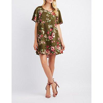 Floral Open-Back Shift Dress