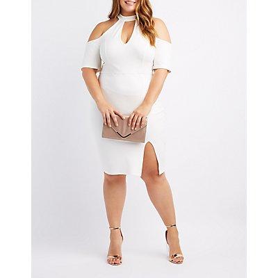 Plus Size Cold Shoulder Bodycon Dress