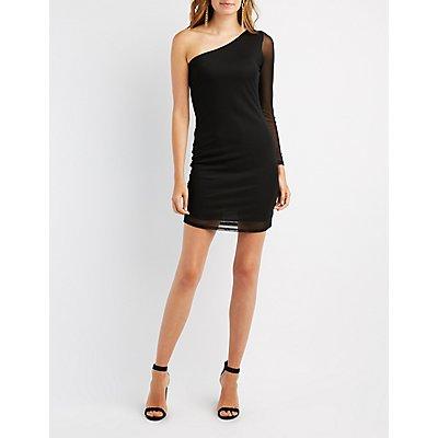 One-Shoulder Mesh Overlay Bodycon Dress