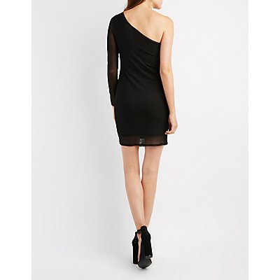 One-Shoulder Mesh Overlay Bodycon Dress