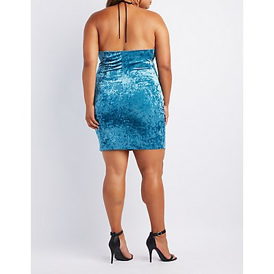 Plus Size Velvet Cowl Neck Bodycon Dress