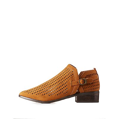 Bamboo Perforated Buckled Booties