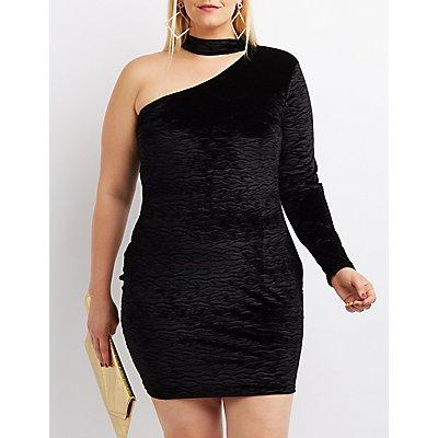 Plus Size Mock Neck One-Shoulder Bodycon Dress