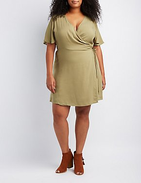 Plus Size Wrap-Tie Skater Dress