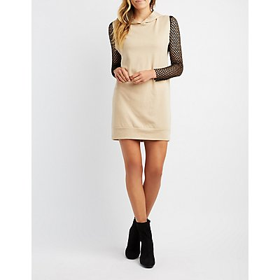 Mesh Combo Hooded Sweatshirt Dress