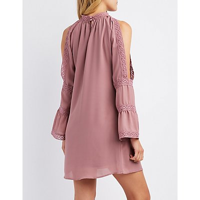 Crochet-Inset Cold Shoulder Shift Dress