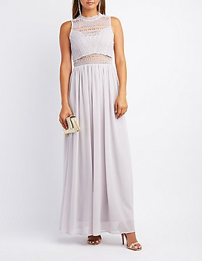 Crochet & Chiffon Mock Neck Maxi Dress