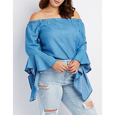 Plus Size Chambray Bell Sleeve Off-The-Shoulder Top
