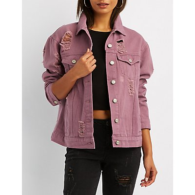 Oversized Destroyed Denim Jacket