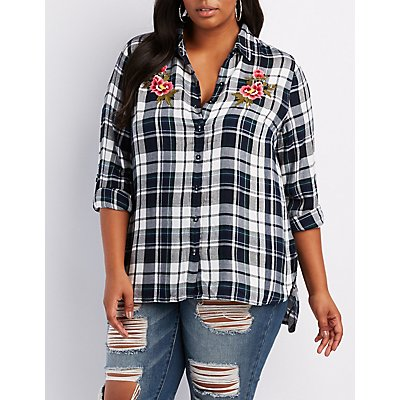Plus Size Embroidered Plaid Flyaway Shirt