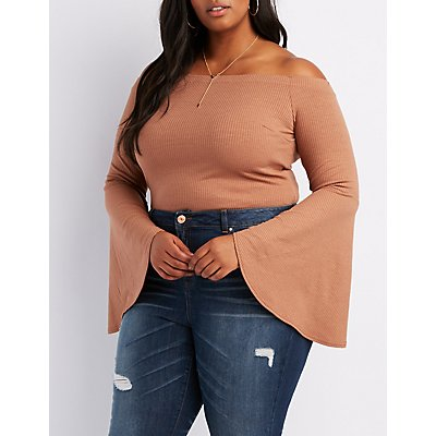 Plus Size Ribbed Off-The-Shoulder Cascade Sleeve Bodysuit