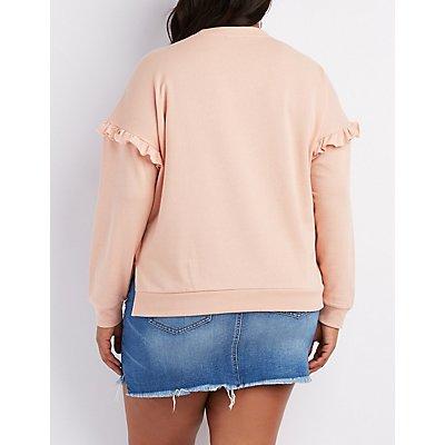 Plus Size Ruffle-Trim Crew Sweatshirt