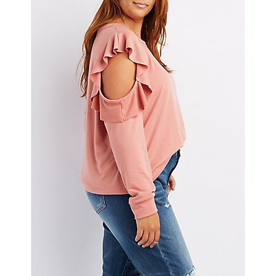 Plus Size Ruffle-Trim Cold Shoulder Sweatshirt
