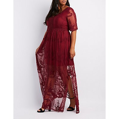 Plus Size Embroidered Lace Maxi Dress