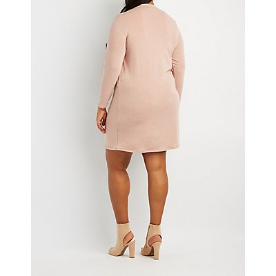 Plus Size Lace-Up Choker Neck Sweater Dress