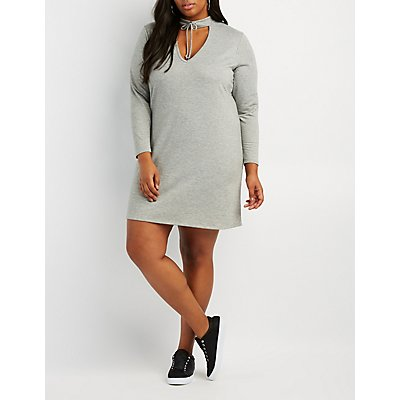 Plus Size Lace-Up Choker Neck Sweatshirt Dress