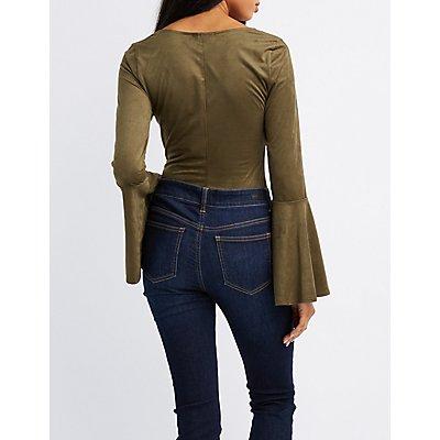 Faux Suede Bell Sleeve Bodysuit