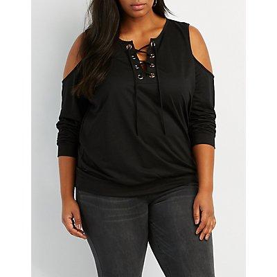 Plus Size Cold Shoulder Lace-Up Detail Sweatshirt