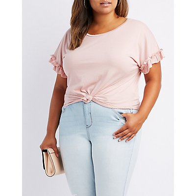 Plus Size Ruffle-Trim Knotted Tee