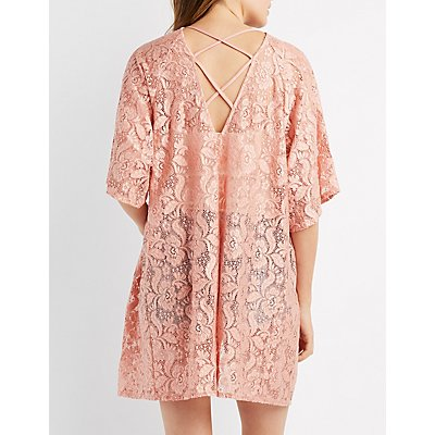Lace Lattice-Back Kimono