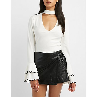 Mock Neck Cut-Out Bell Sleeve Top