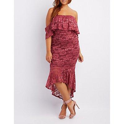 Plus Size Lace Ruffle-Trim Off-The-Shoulder Bodycon Dress
